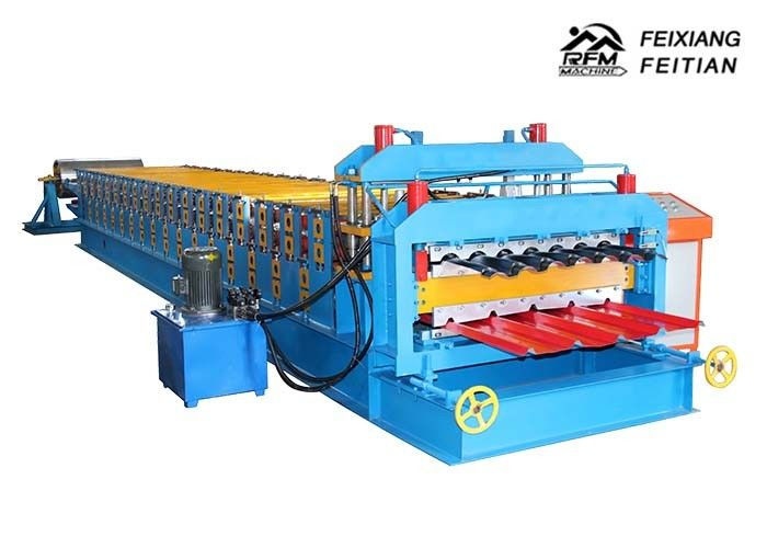 1100 Glazed Tile Double Layer Roll Forming Machine For Building Material