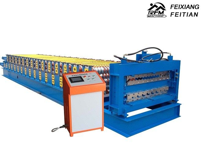 Trapezoid Double Layer Roll Forming Machine Steel Material For Roof Panel
